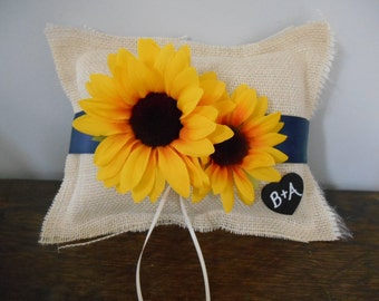 Rustic Burlap Wedding Ring Bearer Pillow With Personalized Chalkboard or Wood Heart Tag Shown with Sunflowers You choose Flowers