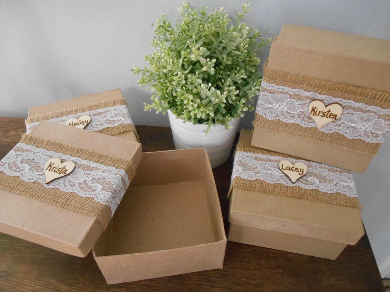 Rustic Personalized Bridesmaid Gift Box Set Of 2 Jewelry