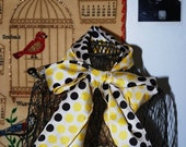 25% Summer SALE Polka Dot Scarf Black White and Yellow Dots Nylon Vintage Accessory