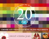 6x9 Felt Sheets Choose Any 20 Colors of Wool Blend Felt