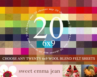 6x9 Wool Felt Sheets - Choose Any 20 Colors of Wool Blend Felt