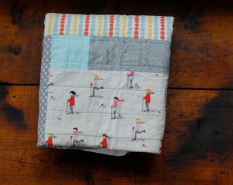 On SALE! Patchwork Baby Quilt in Grays and Polka Dots and Kids on Scooters, Ready to Ship