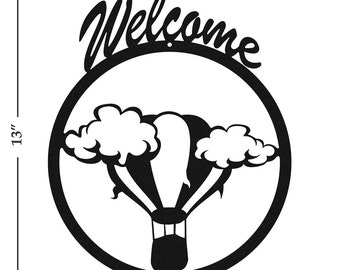 Hot Air Balloon Black Metal Welcome Sign