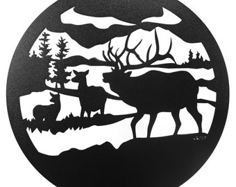Hand Made Caribou Elk Wildlife Scenic Art Wall Design *NEW*