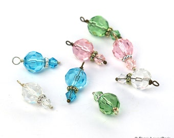 Set of 4 Large Double Bead Drop Charms Pendants Earrings Glass Crystals
