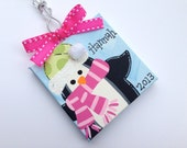 Personalized Penguin holiday ornament