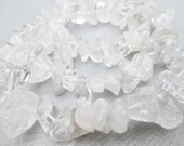 Clear and Grey Quartz Large Gemstone Chip Beads 15 Inch Strand  (Item Number H2OD-8923ch)