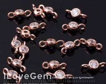 NP-1407 Rose Gold plated, 3.5mm, CZ, Cubic connector, 4pcs