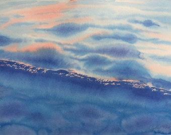 Original Watercolor Painting Ocean Dawn Sunrise on the Water