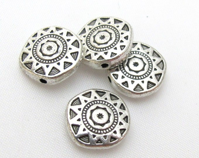 Round disc shape silver color dual sided sun chakra design beads - 4 beads - BD413
