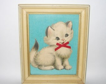 Vintage 1950s Cat Kitten Print Framed Picture Wall Hanging By Vilas-Mages Co. Chicago