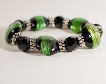 Metallic Green and Black Glass with Silver Beaded Stretch Bracelet