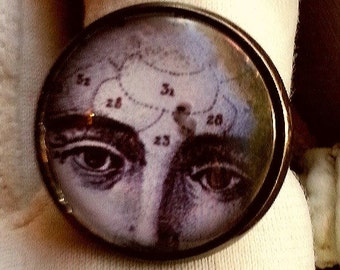 CLEARANCE Vintage Anatomical Face Three Fourths Inch Diameter Glass Cameo Ring on Silver Adjustable Setting