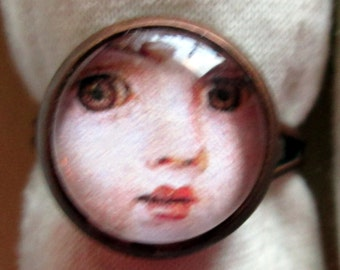 CLEARANCE  Face Petite 12 mm Glass Cameo Ring on Silver Adjustable Setting