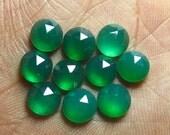 8x8 mm So Gorgeous Emerald Green ONYX - Rose Cut Round Cabochon super Sparkle - 10 pcs