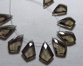 Brand New - 4 Matching Pair-  SMOKEY QUARTZ - Faceted Fancy Tie Shape Briolett Super Sparkle Truly High Quality Huge Size 12x18 mm