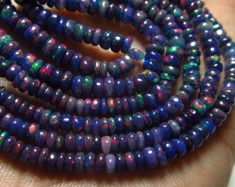 16 inches  strand - Rare To get Black Purple Ethiopian Opal - Smooth Polished Rondell Beads Nice Flashy Strong fire size 3 - 5 mm approx