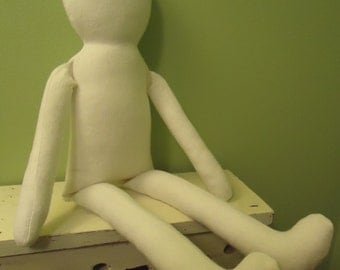"NEW-19"" Primitive Unfinished Ella Craft Doll Body-form-blank-Soft White Flannel-katiesdolls"