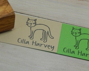 Charity Stamp Custom Why Hello There Little Cat Olive Wood Stamp