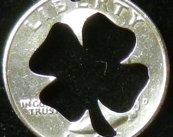 Lucky Four Leaf Clover Hand Cut Coin