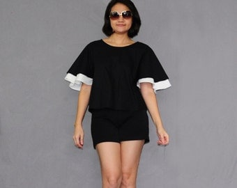 B006 .. Black/White Double Layer Blouse