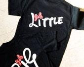 sorority t shirt, big little t shirt,  disney inspired script big, little