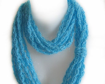 blue infinity scarf, chain scarf, circle, handmade, crochet, cotton, lady gift, accessory, spring