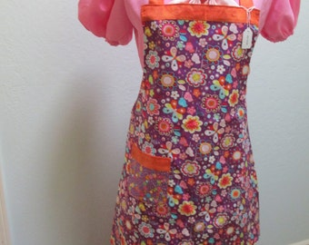 60's-70's Retro Peace Sign Floral Apron Reversible SALE PRICE