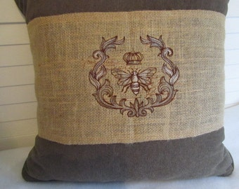 Pillow Wrap - Burlap (Natural) with Parisian Bee Embroidery - JD Designs
