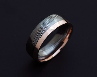 Genuine stainless Damascus Steel and Rose Gold Mens Ring PD84