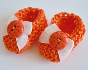 Orange basketball baby shower decorations: little hand knit mini booties - 2 inches with white bows and basketball buttons - DECORATION SIZE