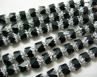 25 6mm Jet Black with Silver Firepolished Cathedral Czech Glass Beads