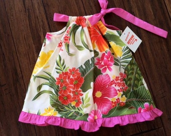 Beautiful Easy Care Hawaiian Dress with Ruffles  (All Sizes Available)