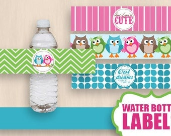 OWL Water Bottle Label Wrappers & Decorative Bands in Pink and Aqua Turquoise Teal Blue- Instant Printable Download