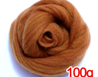 100g Super Fast felting Short Fiber Merino Wool Perfect in Needle Felt chestnut V607