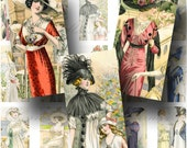 French Fashion Digital Collage Sheet ON SALE!!!  Ladies, Hat, Gown, Dress Digital Download Vintage Fashion Domino Size #6 INSTANT Download