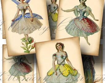 Victorian Costumes Digital Collage Sheet SALE!!! Vintage, Ballet, Theatre, Opera, Ballerina, Aged Digital Download ATC #2 - INSTANT Download