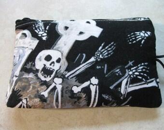 skeleton graveyard print makeup jewelry padded bag
