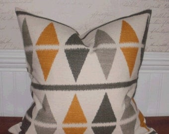 SALE ~ Decorative Pillow Cover: Ikat 18 X 18 Yellow and Gray Argyle Pattern Screen-printed onto Cream Textured Cotton