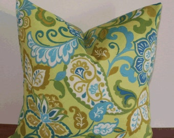 Decorative Outdoor Pillow ~ 18 X 18 Outdoor Floral Paisley Pillow Cover...Home and Living...Outdoors and Garden