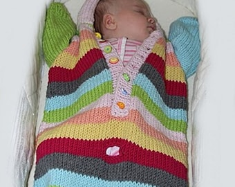 Knitting PATTERN- Baby Bunting knitting pattern PDF download