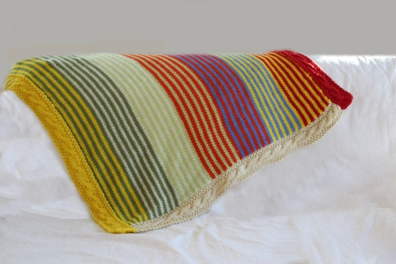 KNITTING PATTERN Super Stripe Baby Blanket by theknittingniche