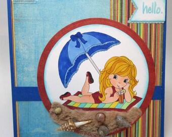 Beach Babe - Hello  - card, OOAK