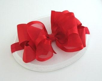 Christmas Headband, Baby Headband, Red Satin Headband, Sheer Organza Bow, Newborn Headband, Red Satin Bow Headband, Toddler Headband