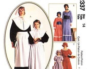 Sz 14 - McCall's Costume Pattern 2337 - Girls Pilgrim and Settler Dresses with Hats Costume