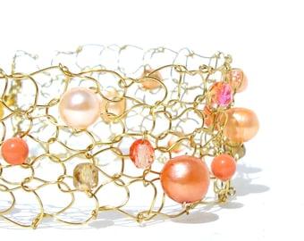 Orange Bracelet Pearl Cuff Bracelet Tangerine Wedding Jewelry Modern Bride Bridesmaids Bracelets Summer orange coral bracelet