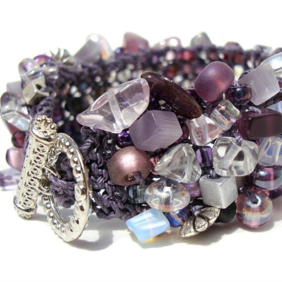 Amethyst Cuff Bracelet February Birthstone Jewelry Beaded Cuff Purple Lilac Lavender Stone Crystal Fiber Knitted Bracelet