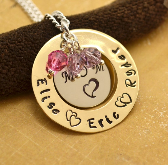 Personalized Necklace for Mom, Mother's Day Gift, Hand Stamped Jewelry, Custom Necklace, Mom, Mommy, Mother