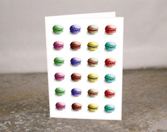 Blank French Macaroon Cookie Mini Card Printed from Original Art 3.5 x 2.5