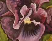 PURPLE PANSY - original oil painting 11x14